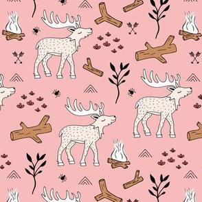 Wild Moose scandinavian camping trip in the woods cute deer neutral kids pink blush beige