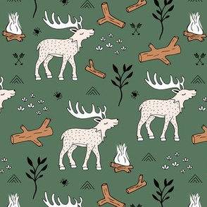 Wild  Moose scandinavian camping trip in the woods cute deer neutral kids green winter earthy