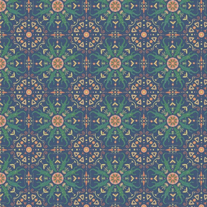 Celestial Gators Pattern Green and Blue