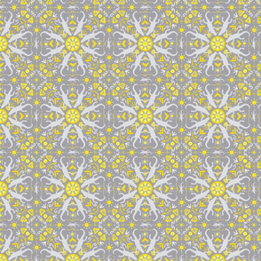 Celestial Gators Pattern Gray and Yellow