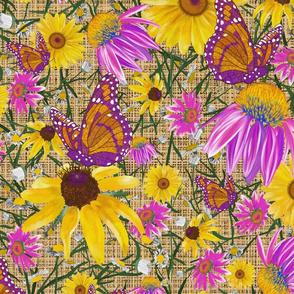 lg-Pat's wildflower on tan burlap weave