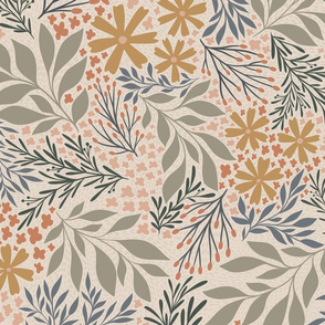 English Garden Floral - muted tan - large