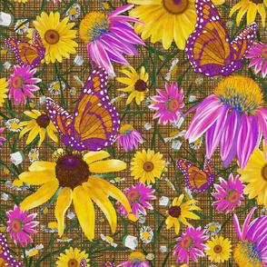 lg-Pat's wildflower on brown weave
