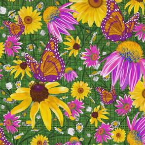 lg-Pat's wildflower on green weave