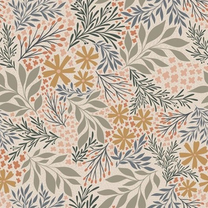 English Garden Floral - muted tan - vintage floral  medium scale