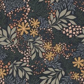 English Garden Floral - blue - vintage floral -medium scale