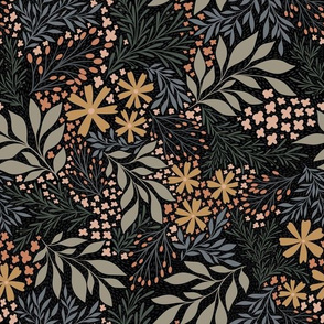 English Garden Floral - black - vintage floral -medium scale