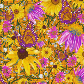 lg-Pat's wildflowers on orange weave