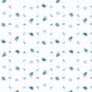 Blue floral garden watercolor ditsy