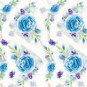 English Blue Rose Garden Watercolor Floral