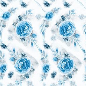 English Rose Garden Watercolor Floral - Blue