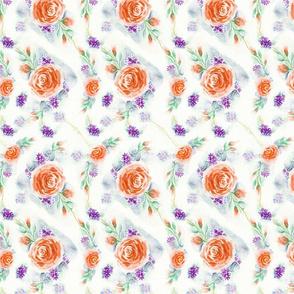 English Rose Garden Watercolor Floral - Orange Pumpkin