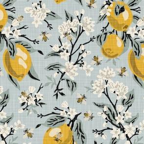Bees & Lemons - Linen Texture - Large - Black Stems