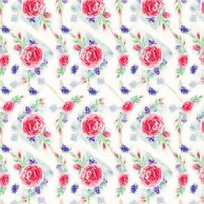 English Rose Garden Watercolor Floral - Small