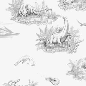 Dino Toile Pattern Black and White