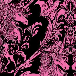 Unicorn Damask Pink Dark