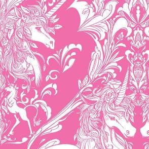 Unicorn Damask Pink Light