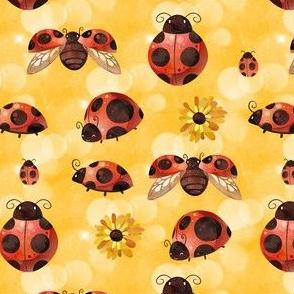 Lady Bug on Yellow Bokeh