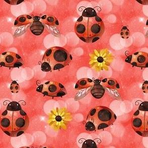 Lady Bug on Red Bokeh
