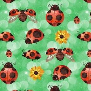 Lady Bug on Green Bokeh