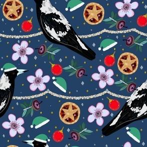 Australian magpie Christmas native flower design