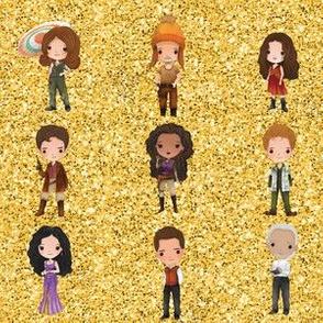 Firefly on gold glitter