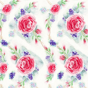 English Rose Garden Watercolor Floral - Large