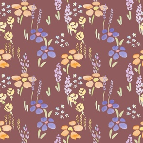 Wildflower meadow watercolor on maroon