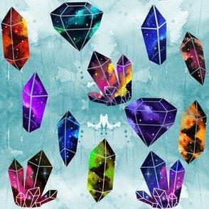 Galaxy Crystals on Teal Watercolor