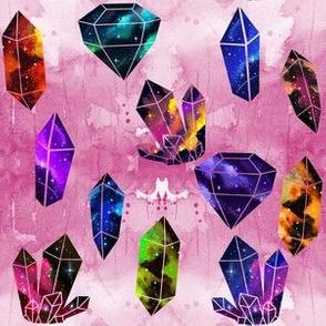 Galaxy Crystals on Pink Watercolor