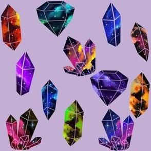 Galaxy Crystals on Lavender