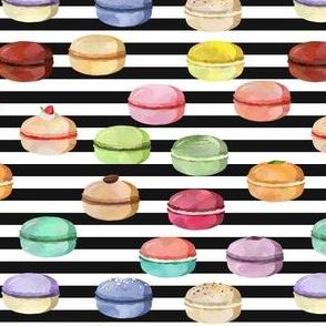 Macaron Black and White Stripes Small Scale
