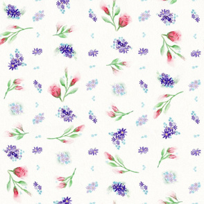 Red Rose Buds and Purple Floral Watercolor Design
