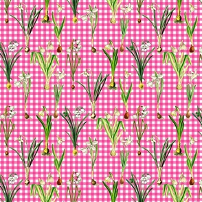 Snowdrops on pink gingham ground