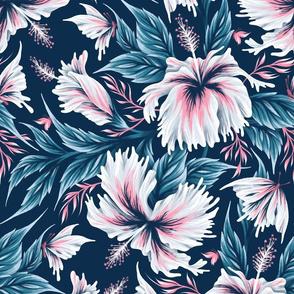 Hibiscus Butterflies - Navy Blue Pink