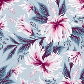 Hibiscus Butterflies - Light Blue Pink