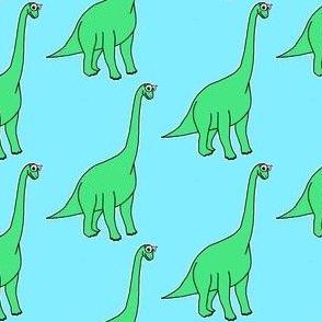 Cute Brachiosaurus - on blue