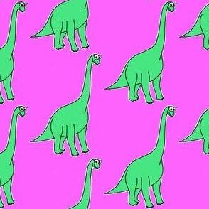 Cute Brachiosaurus - on pink