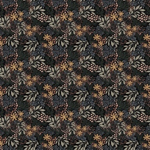 English Garden Floral - vintage floral -black - small micro scale