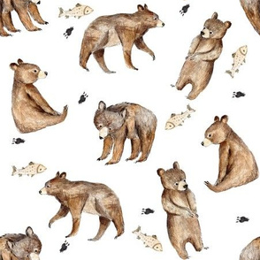 bears and fishes-white