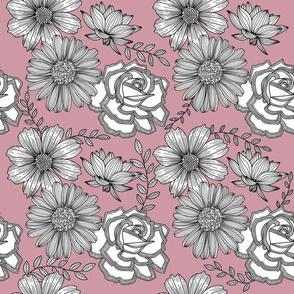 Flowers Line Art - Blush Pink