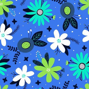 Spring Floral (Blue, Lime and Teal)