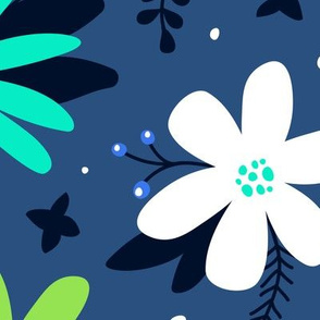 Spring Floral (Periwinkle, Lime & Teal)