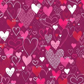 Hearts and Kisses (Pink and White)