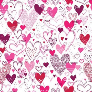Hearts and Kisses (White & Pink)
