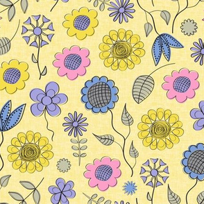 Summer Flowers in Bright Pastels on Yellow
