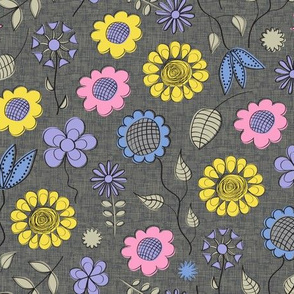 Summer Flowers in Bright Pastels on Gray
