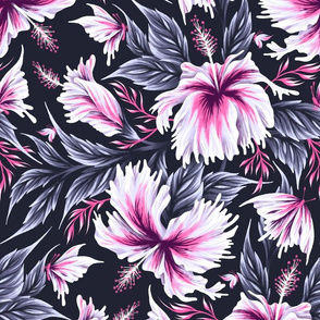 Hibiscus Butterflies - Grey Pink