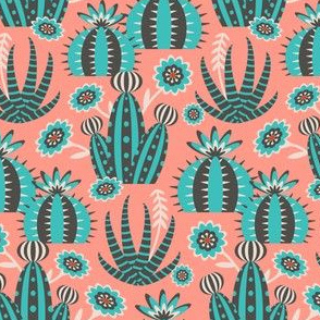 Desert Garden - Graphic Geometric Shapes with Cactus Flowers and Aloe - SMALL SCALE - UnBlink Studio by Jackie Tahara