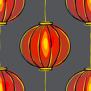 Minimalist Red Lanterns - Large Scale